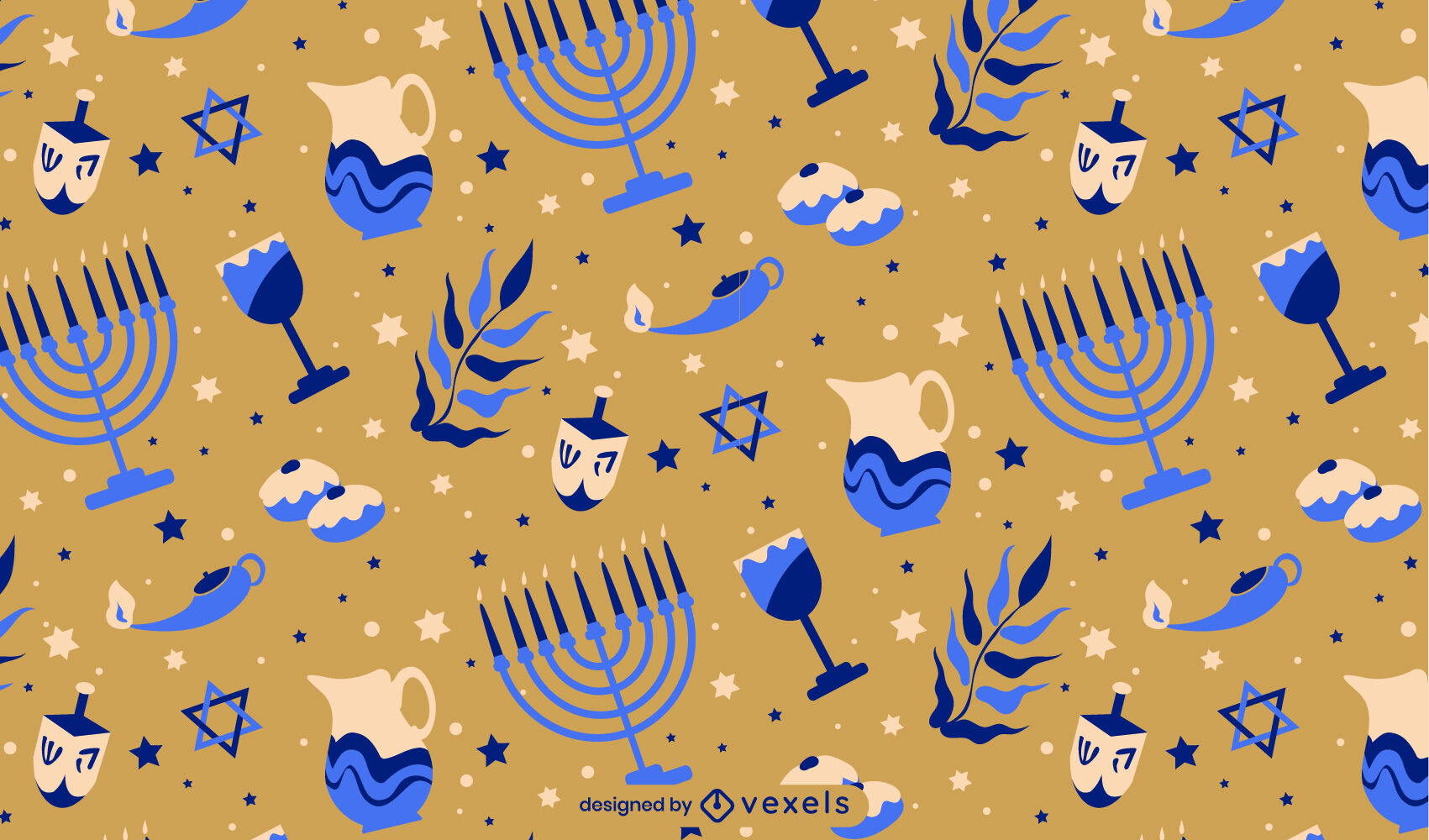 Patrón plano de elementos de Hanukkah