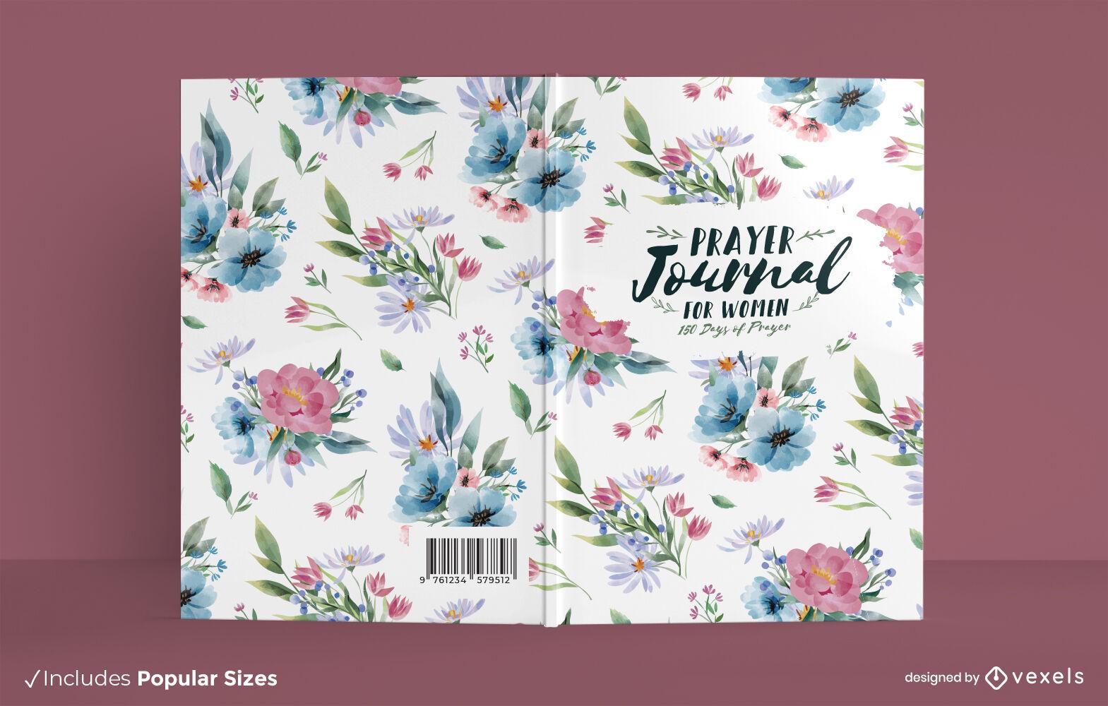 Portada de libro de diario de oración de flores de acuarela