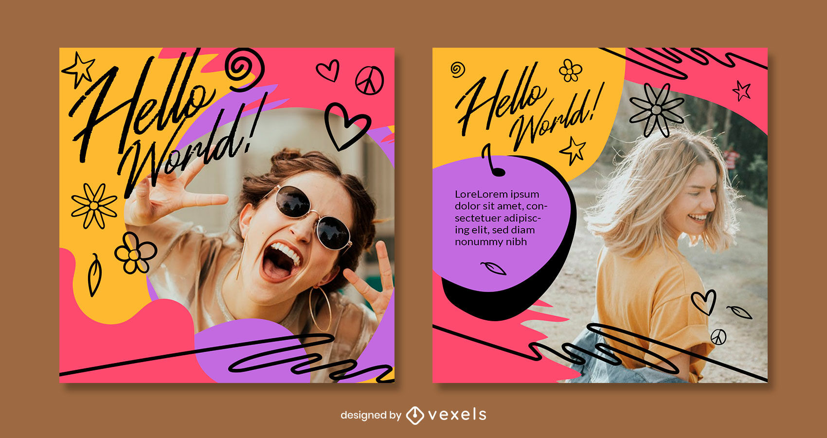 Doodle text and elements instagram post template
