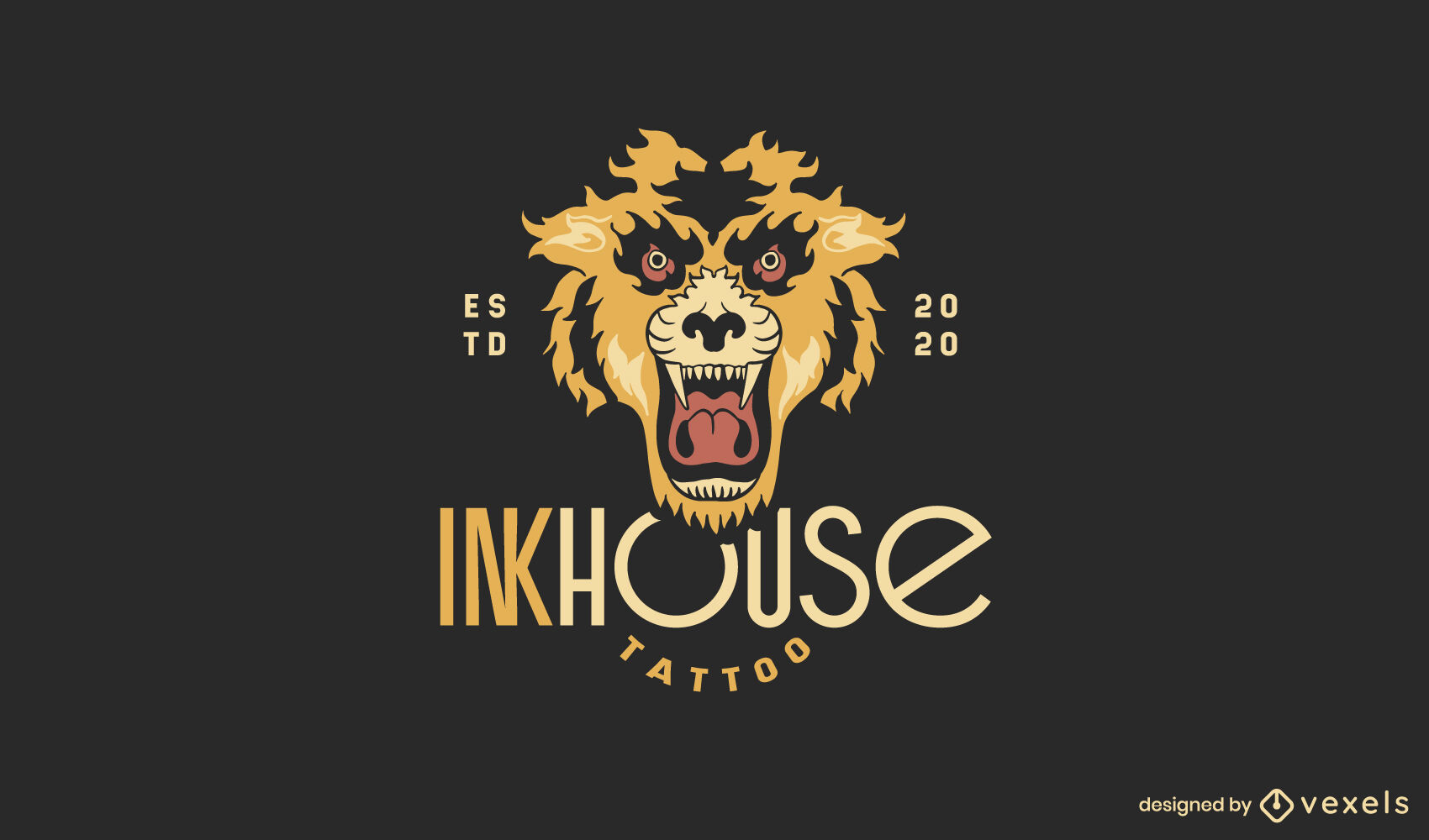 Plantilla de logotipo de tatuaje de tigre