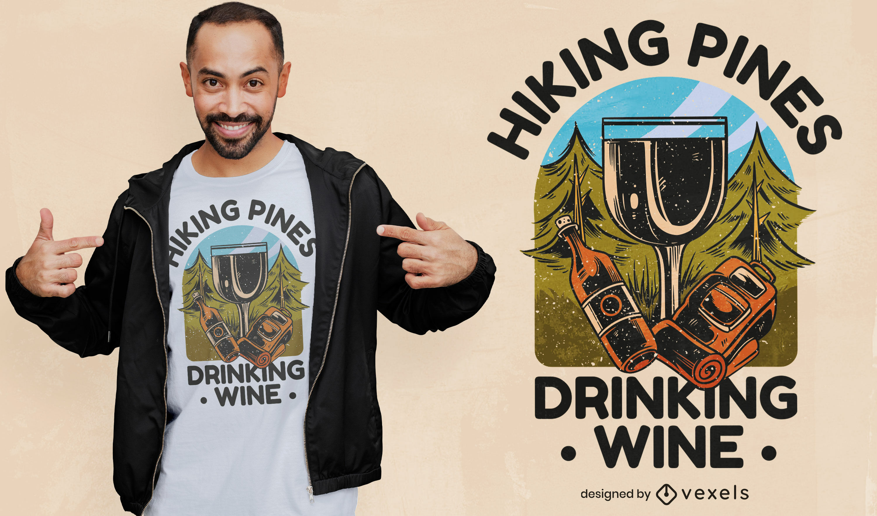 Hiking and drinking wine t-shirt design