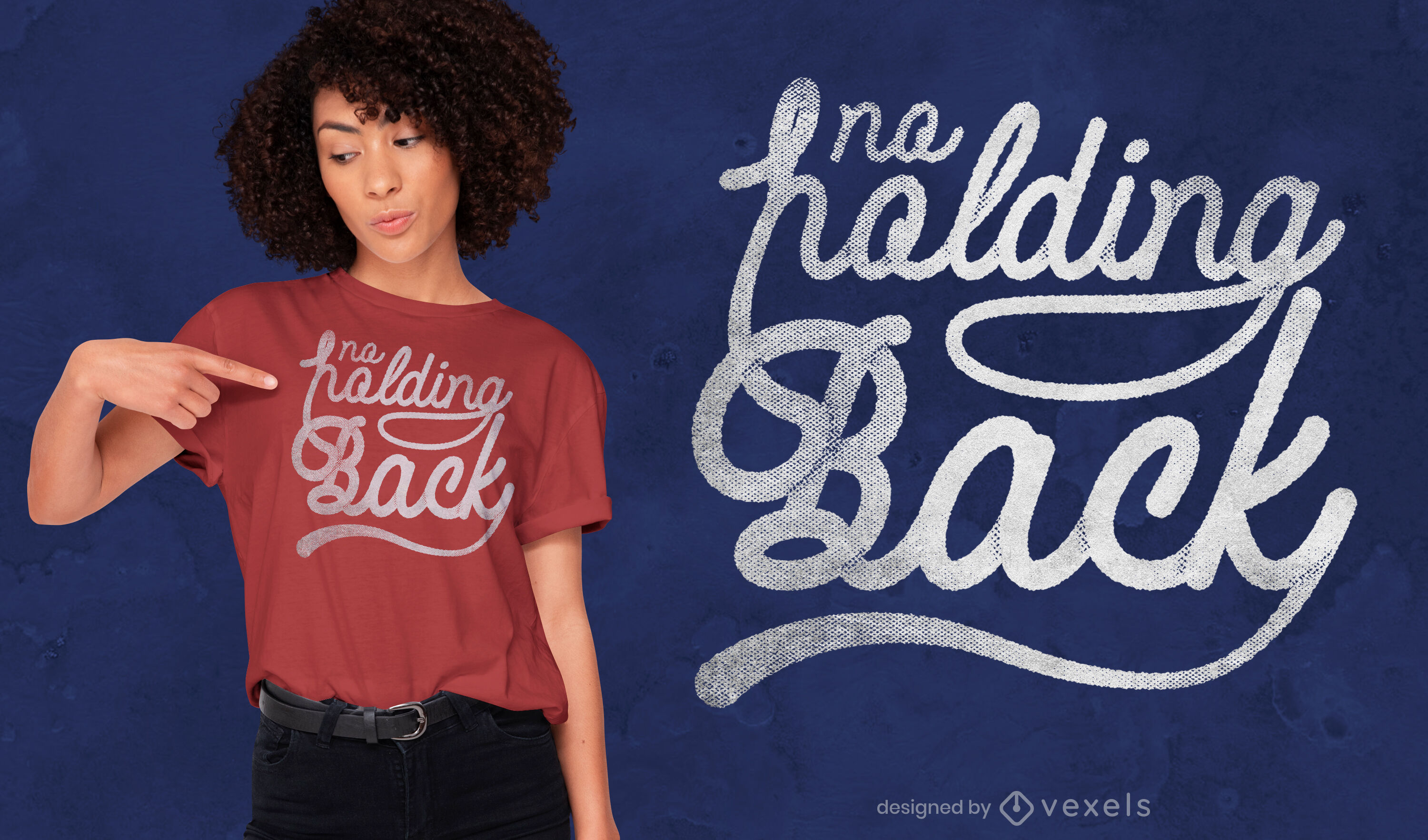 No holding back lettering psd t-shirt