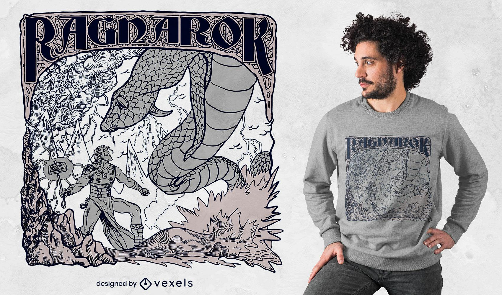 Design de camiseta de batalha da mitologia nórdica Ragnarok
