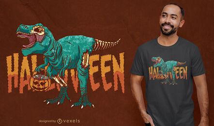 Diseño de camiseta zombie Halloween t-rex