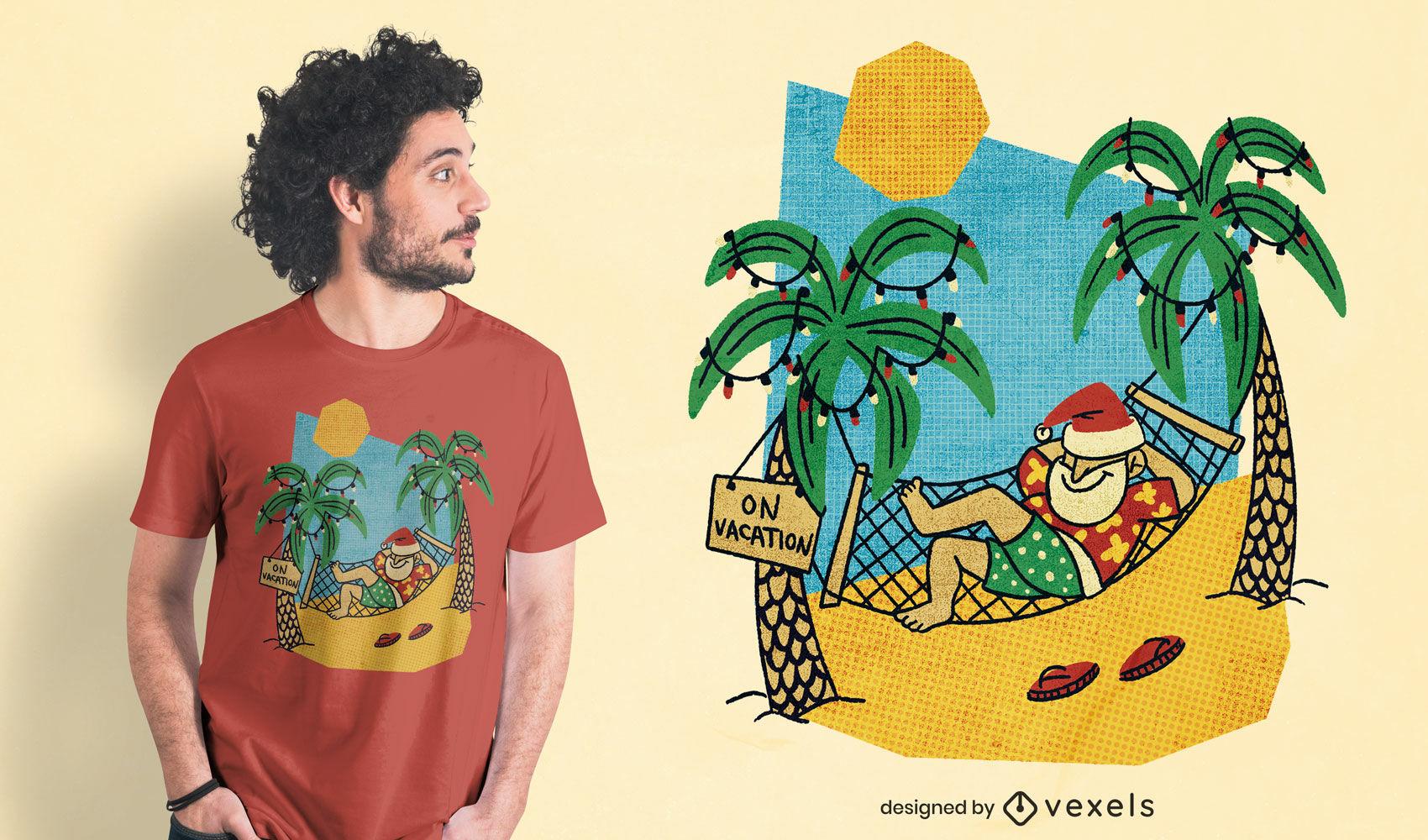 Papai Noel na praia design de camiseta psd