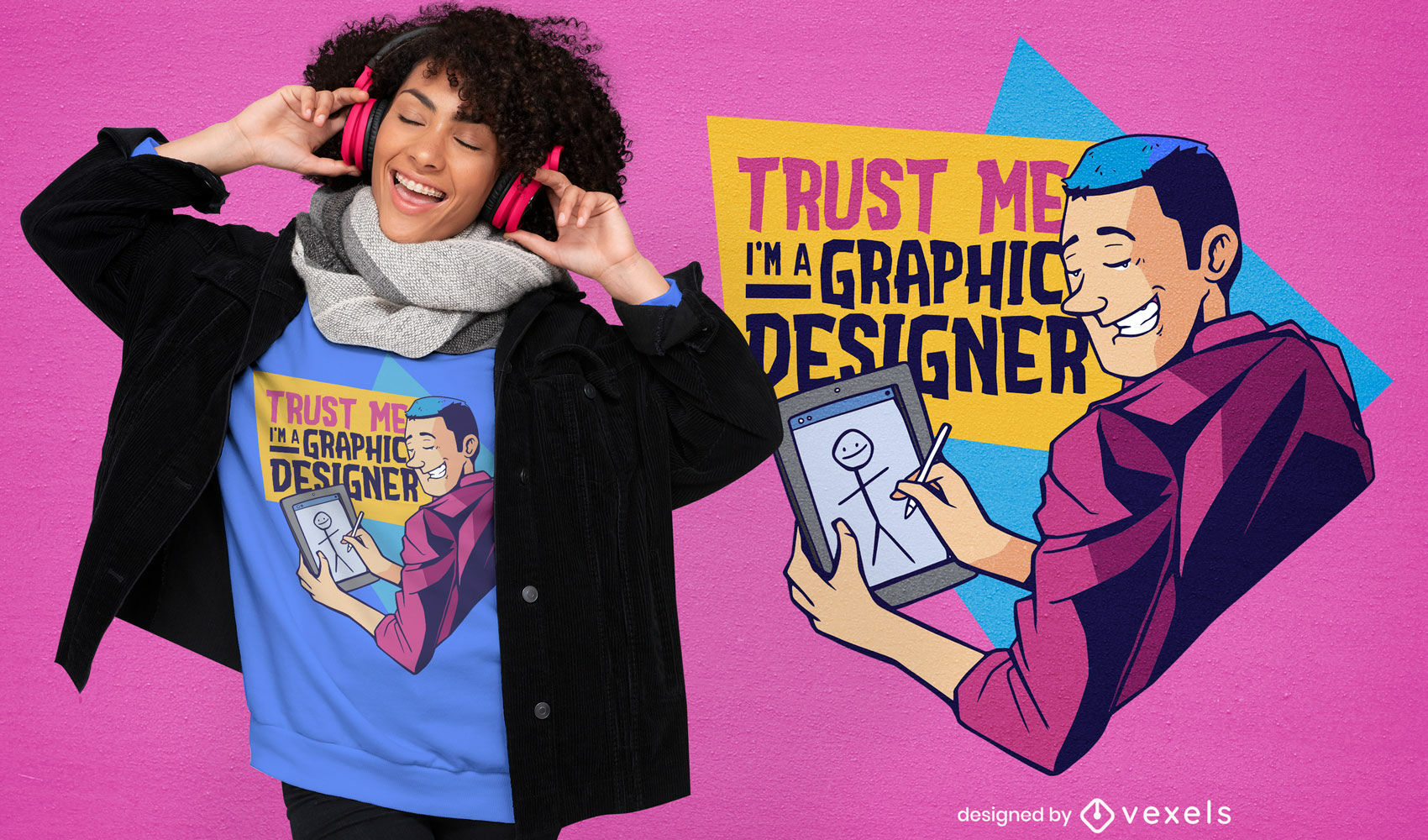 Diseño de camiseta divertida de diseñador gráfico.