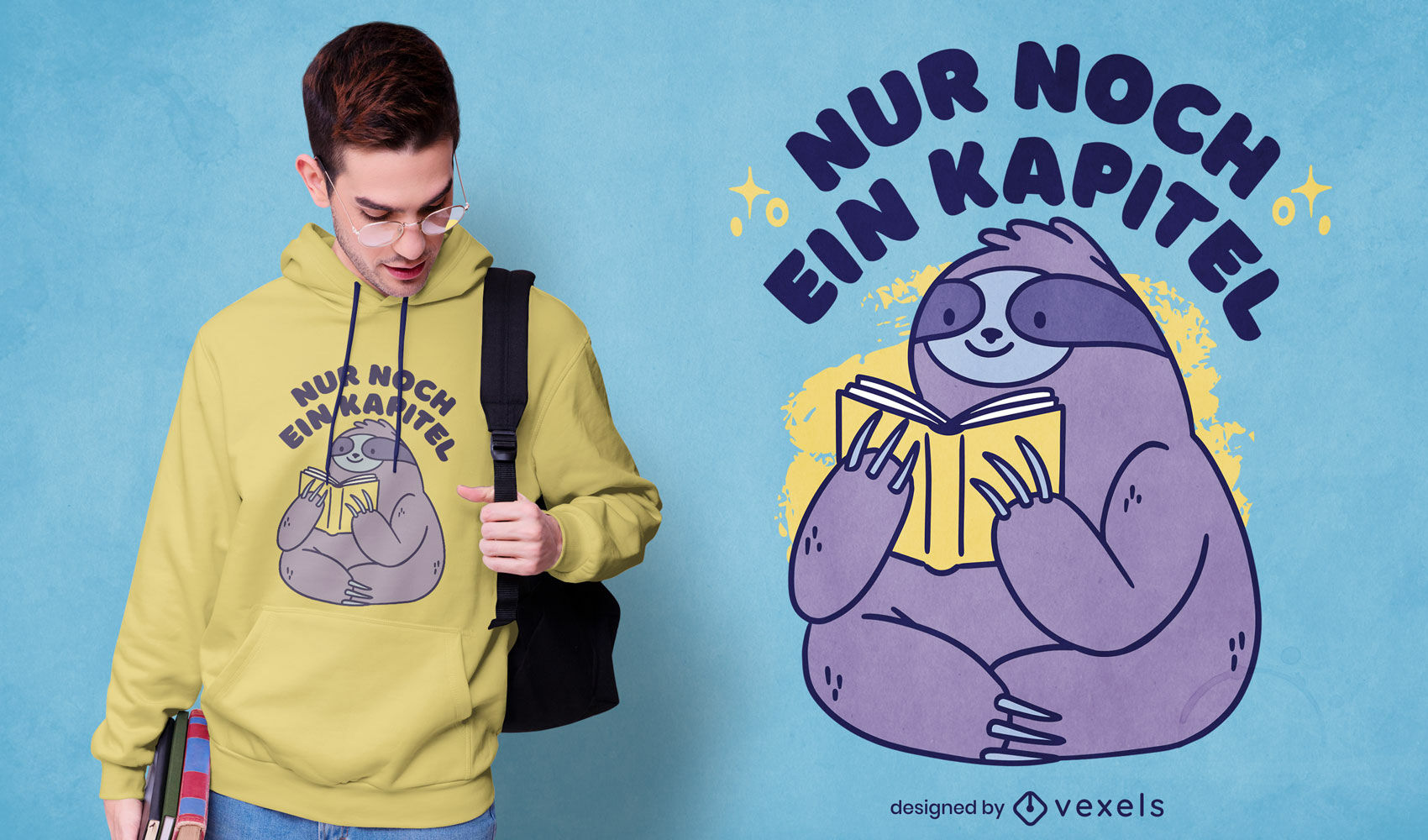 Reading sloth German t-shirt design