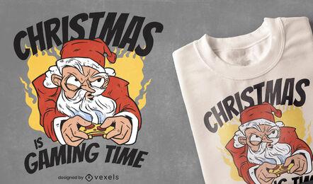 Diseño de camiseta Gaming Santa Christmas.