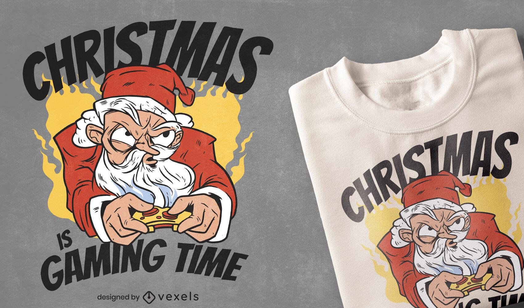 Gaming Santa Weihnachts-T-Shirt-Design