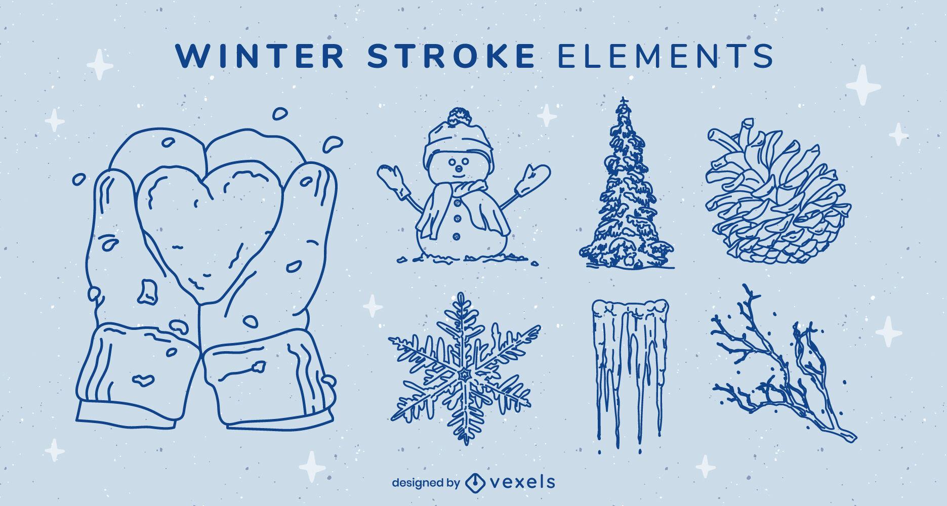 Conjunto de trazos de elementos de invierno
