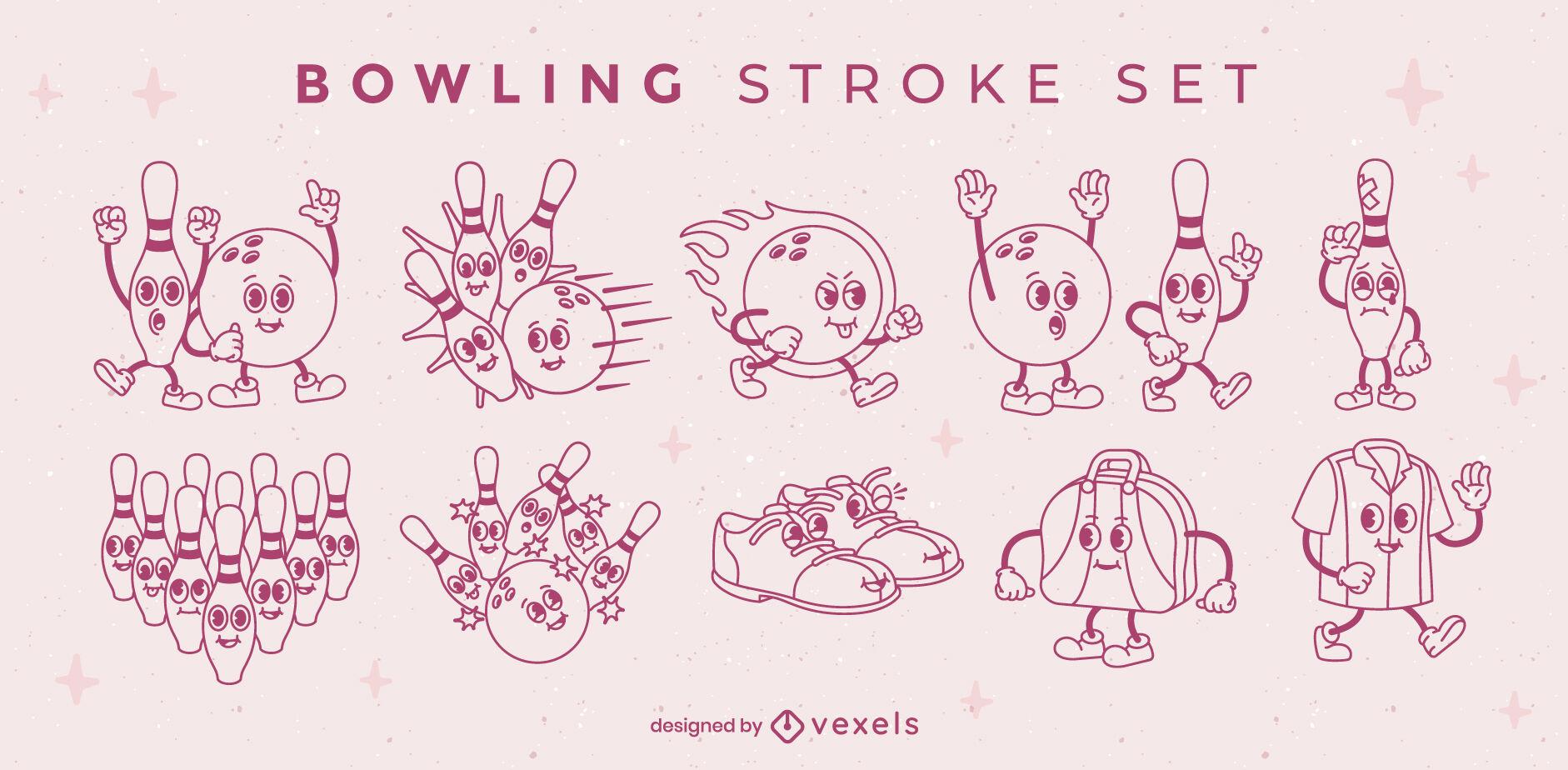 Bowling characters retro cartoon stroke