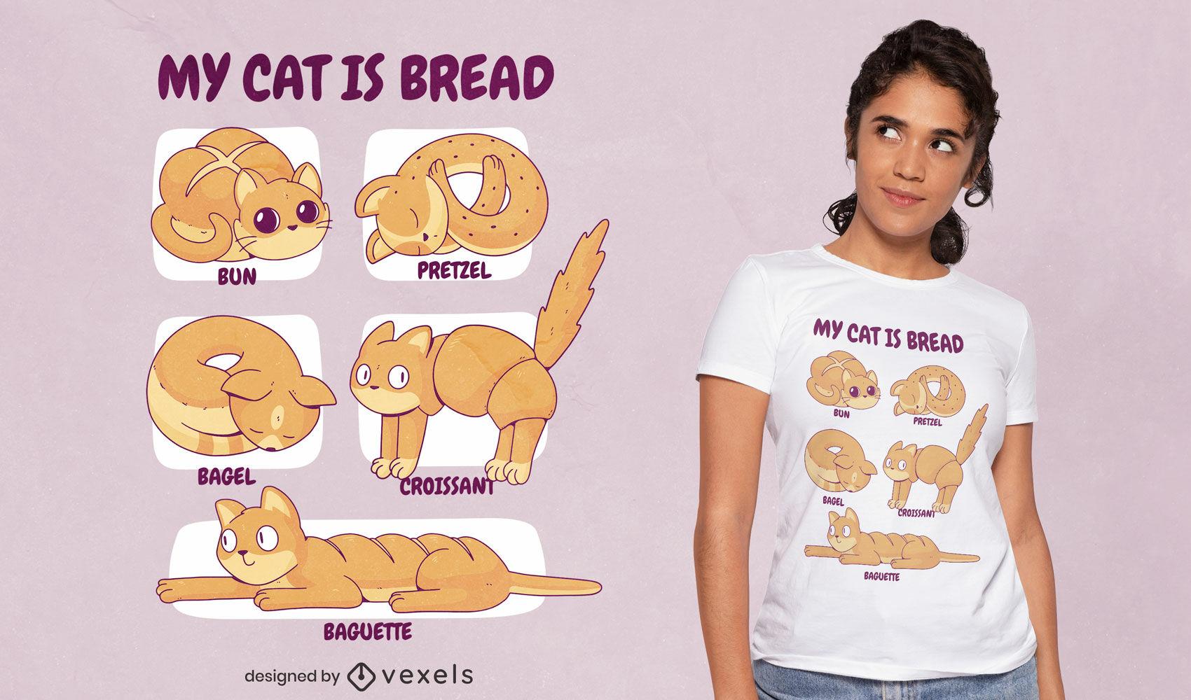 Diseño de camiseta divertida de gato de pan.
