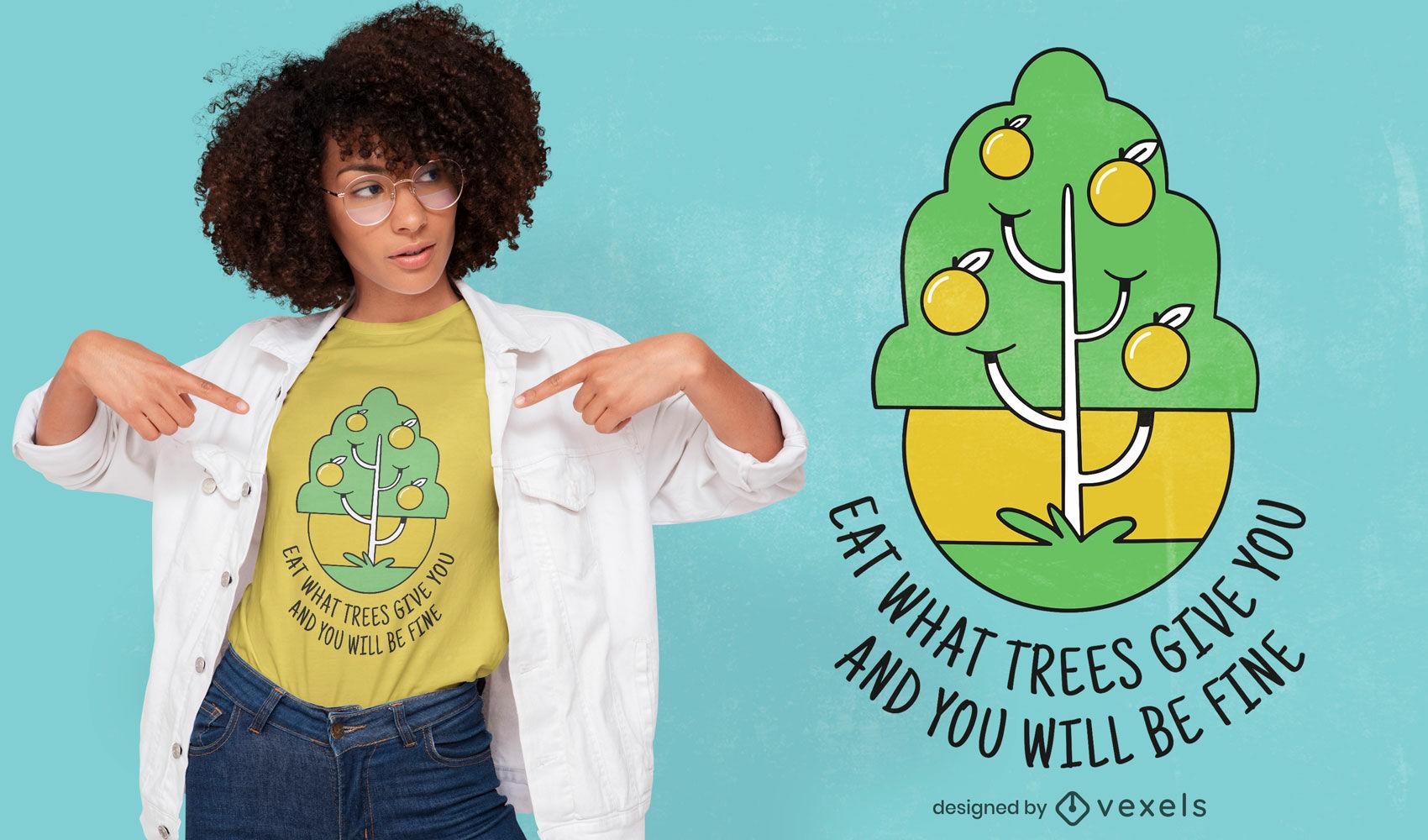 Diseño de camiseta de cita de árbol vegetariano