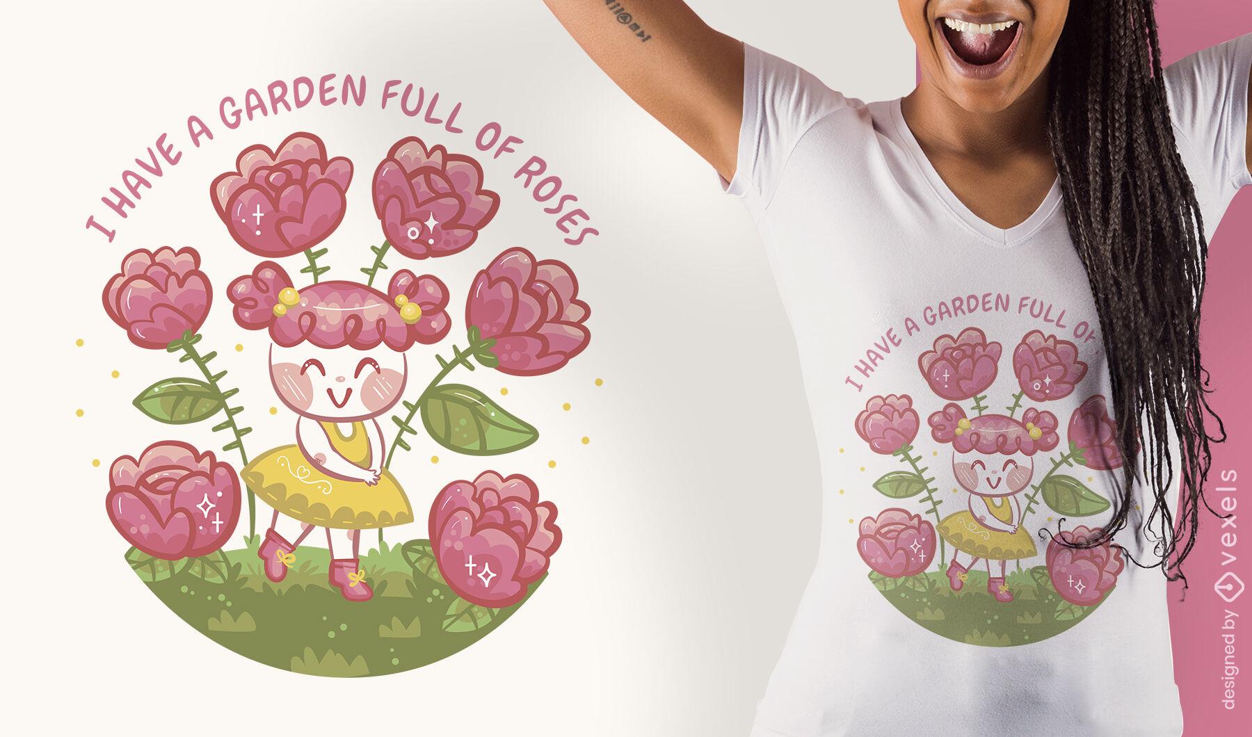 Diseño de camiseta linda niña de las flores