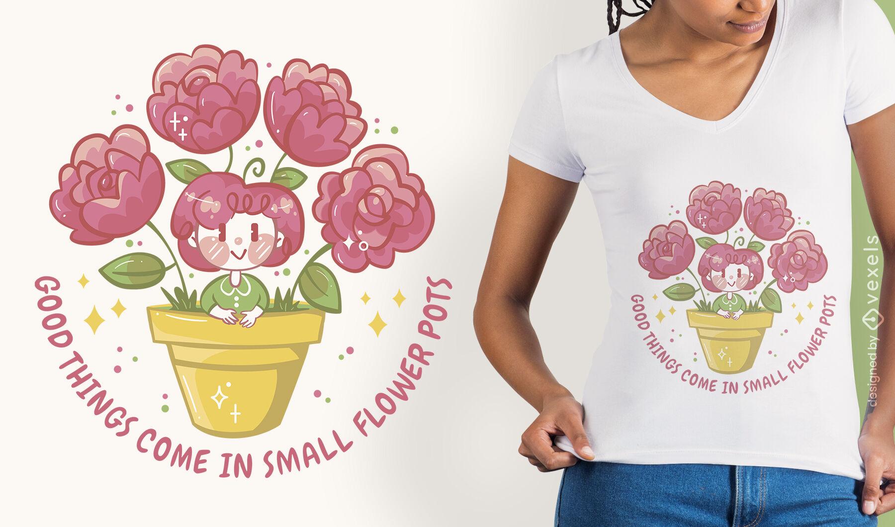 Design de camiseta feminina em vaso de flores