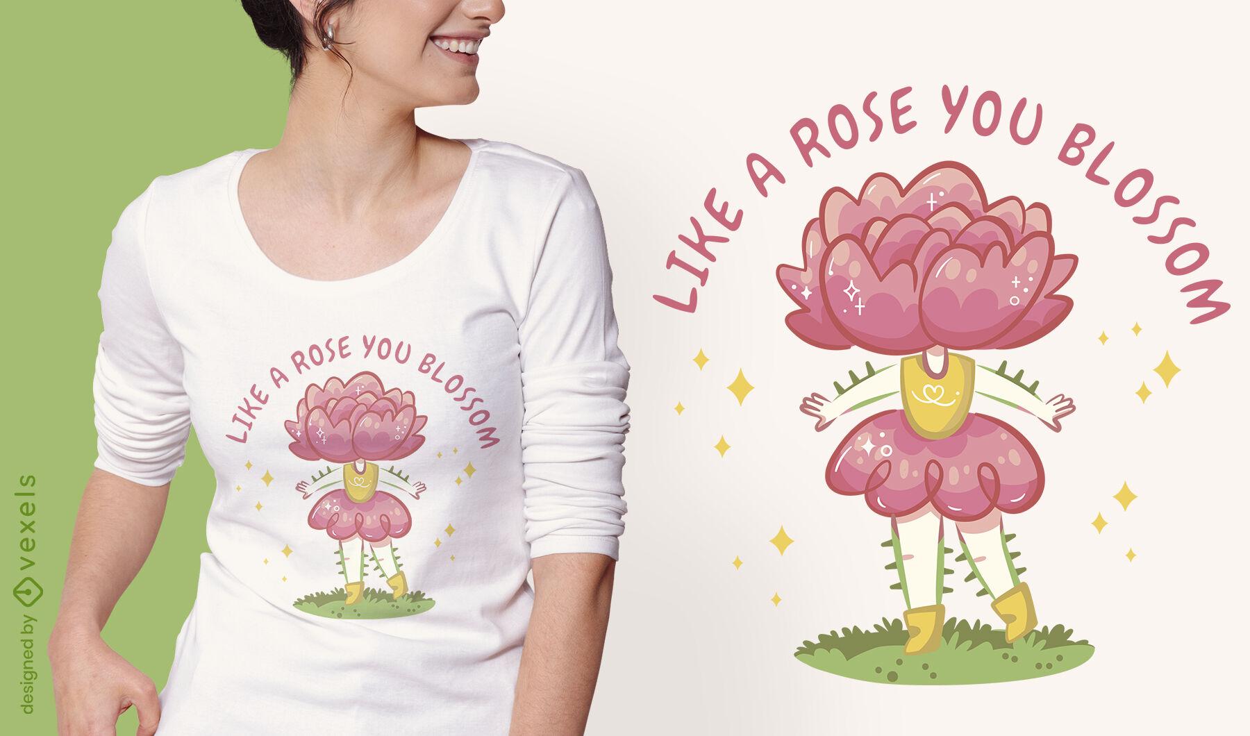 Design de t-shirt de menina rosa