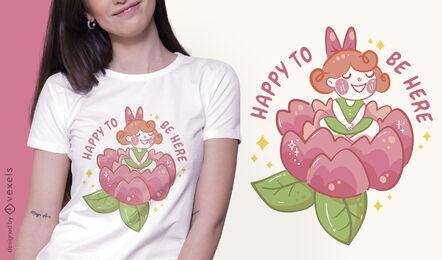 Happy flower girl t-shirt design