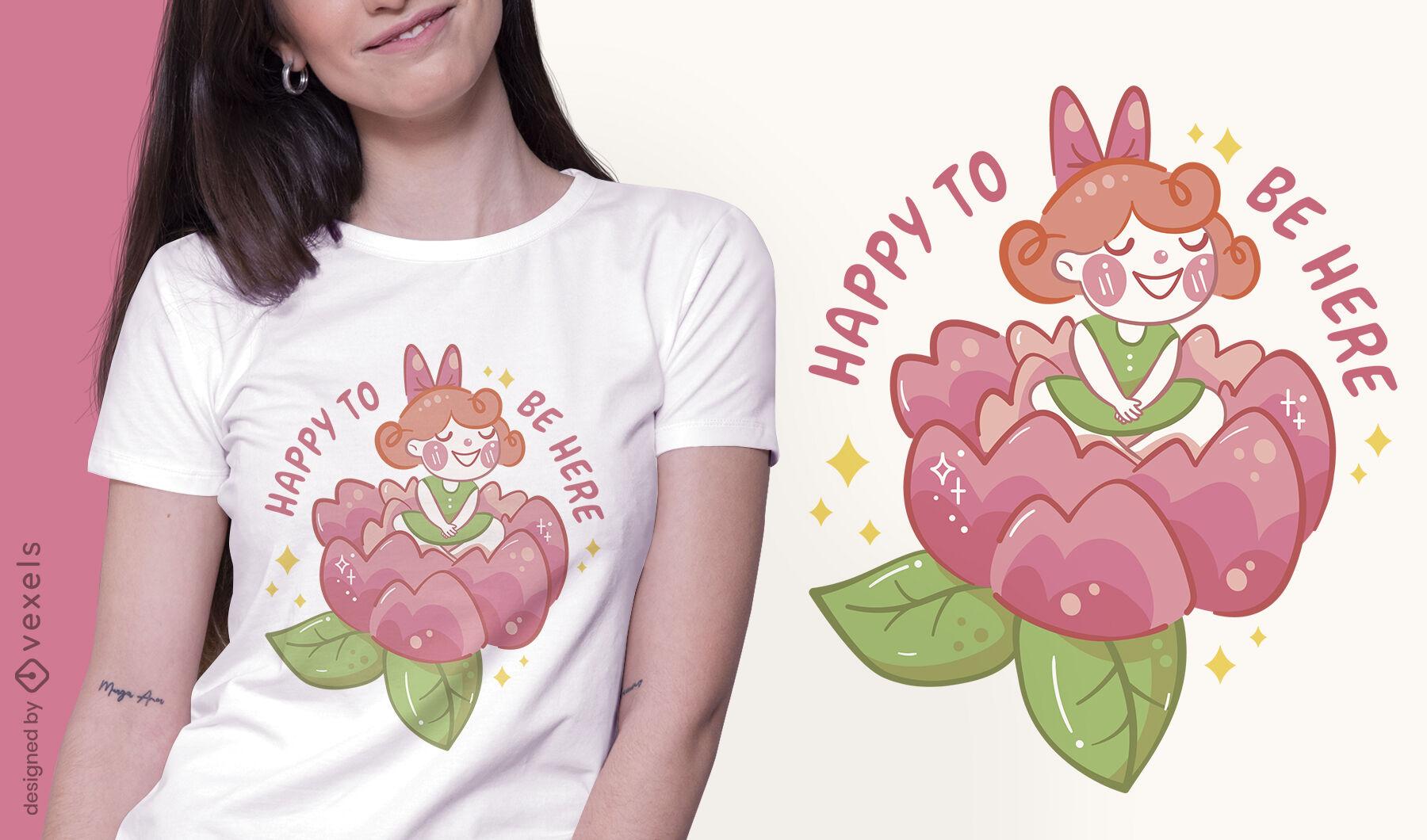 Glückliches Blumenmädchen-T-Shirt-Design