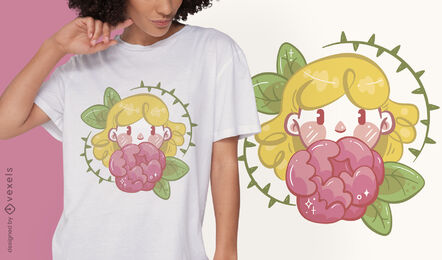 Girl with flower t-shirt design