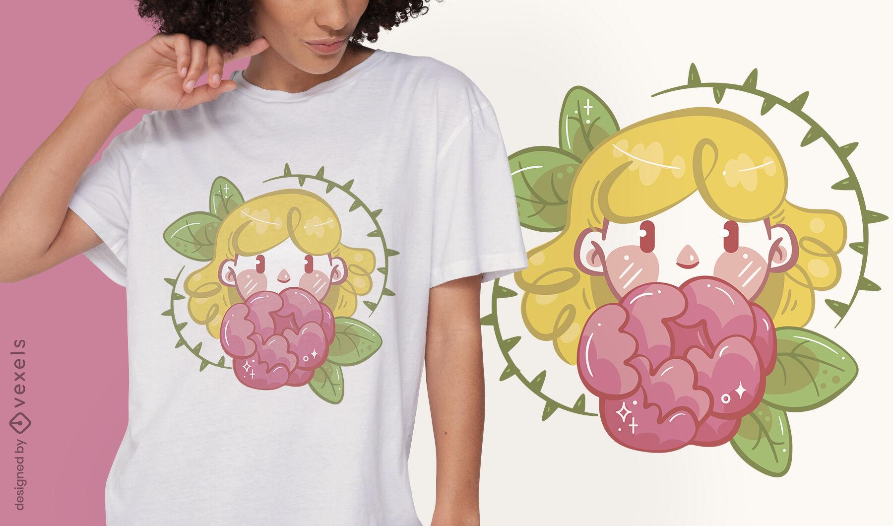 Menina com design de t-shirt de flores