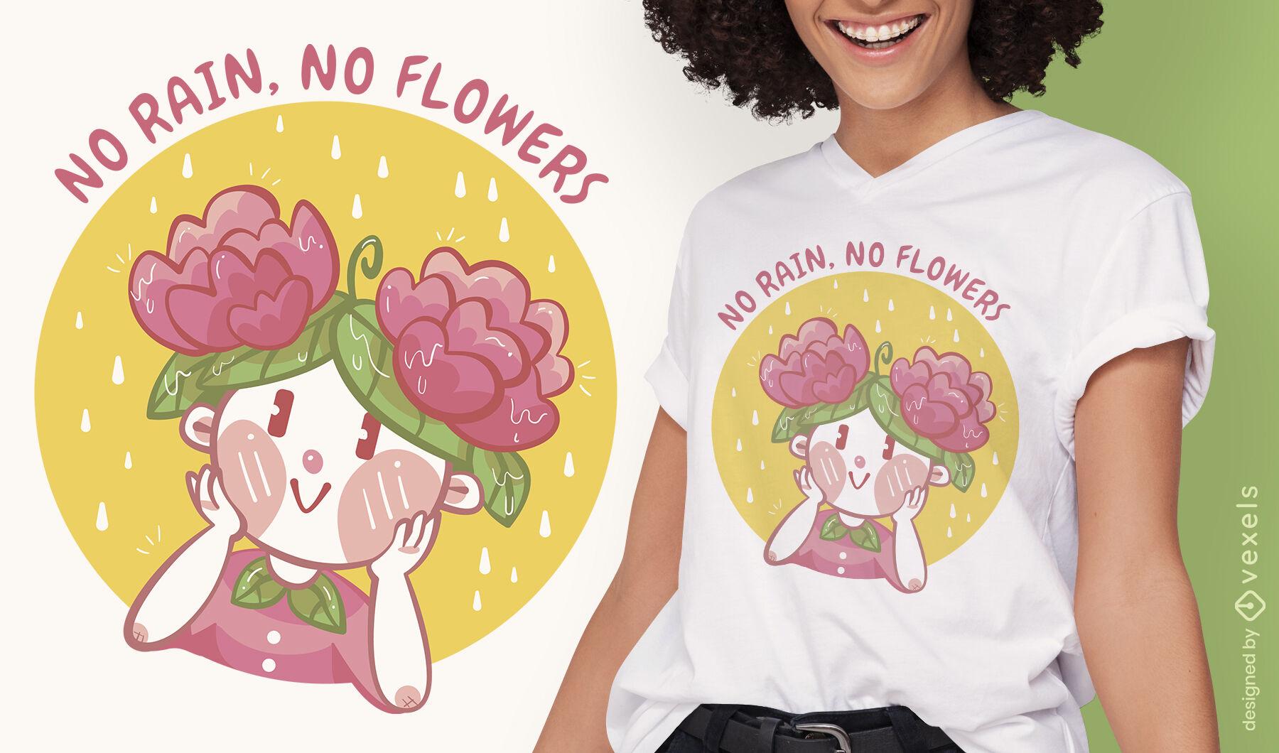 Sem flores sem design de t-shirt de chuva