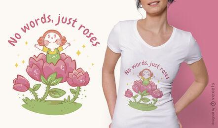 Girl inside flower t-shirt design