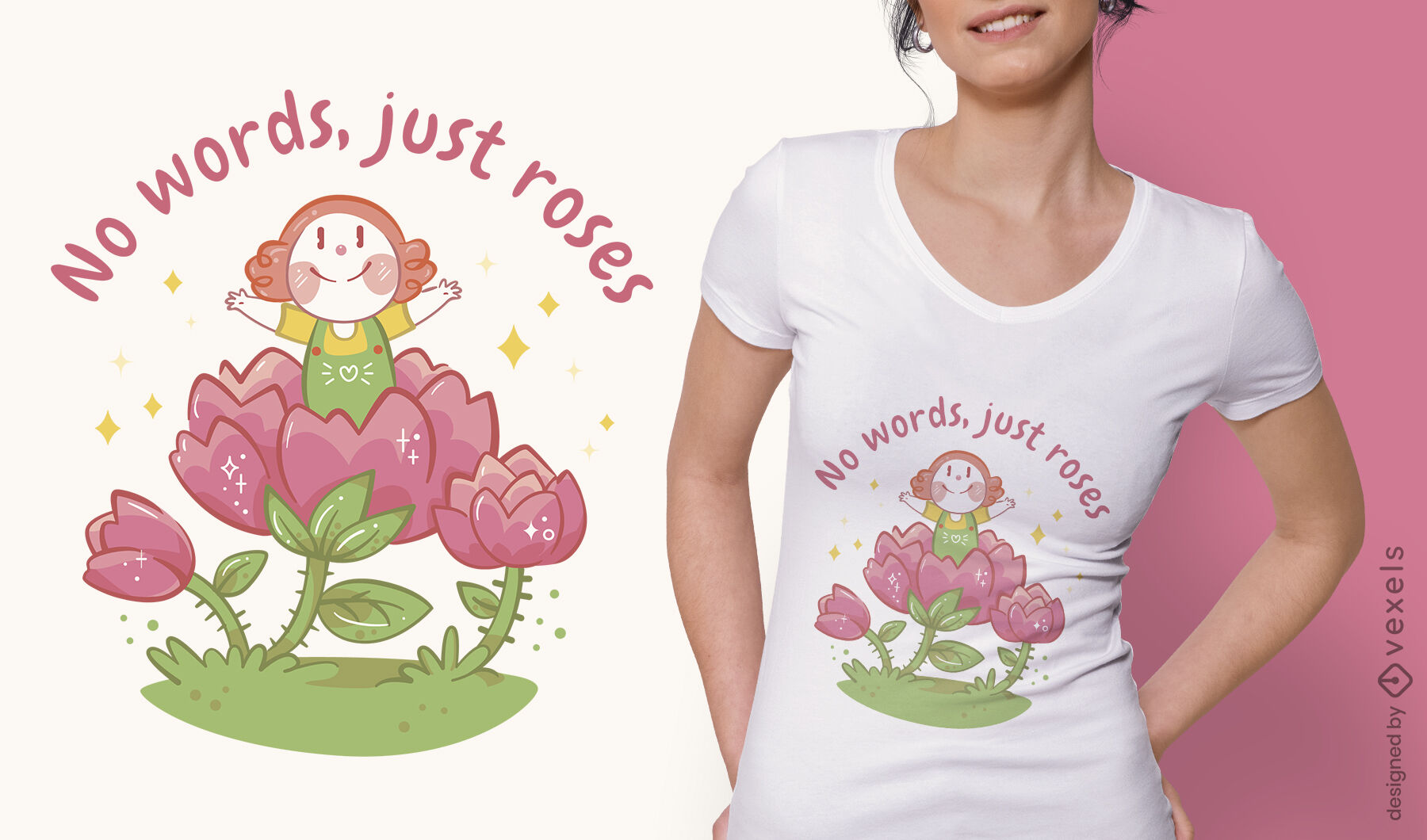 Mädchen im Blumen-T-Shirt-Design