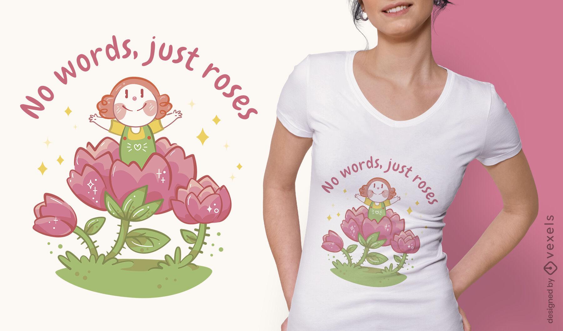 Menina dentro do design da camiseta com flores