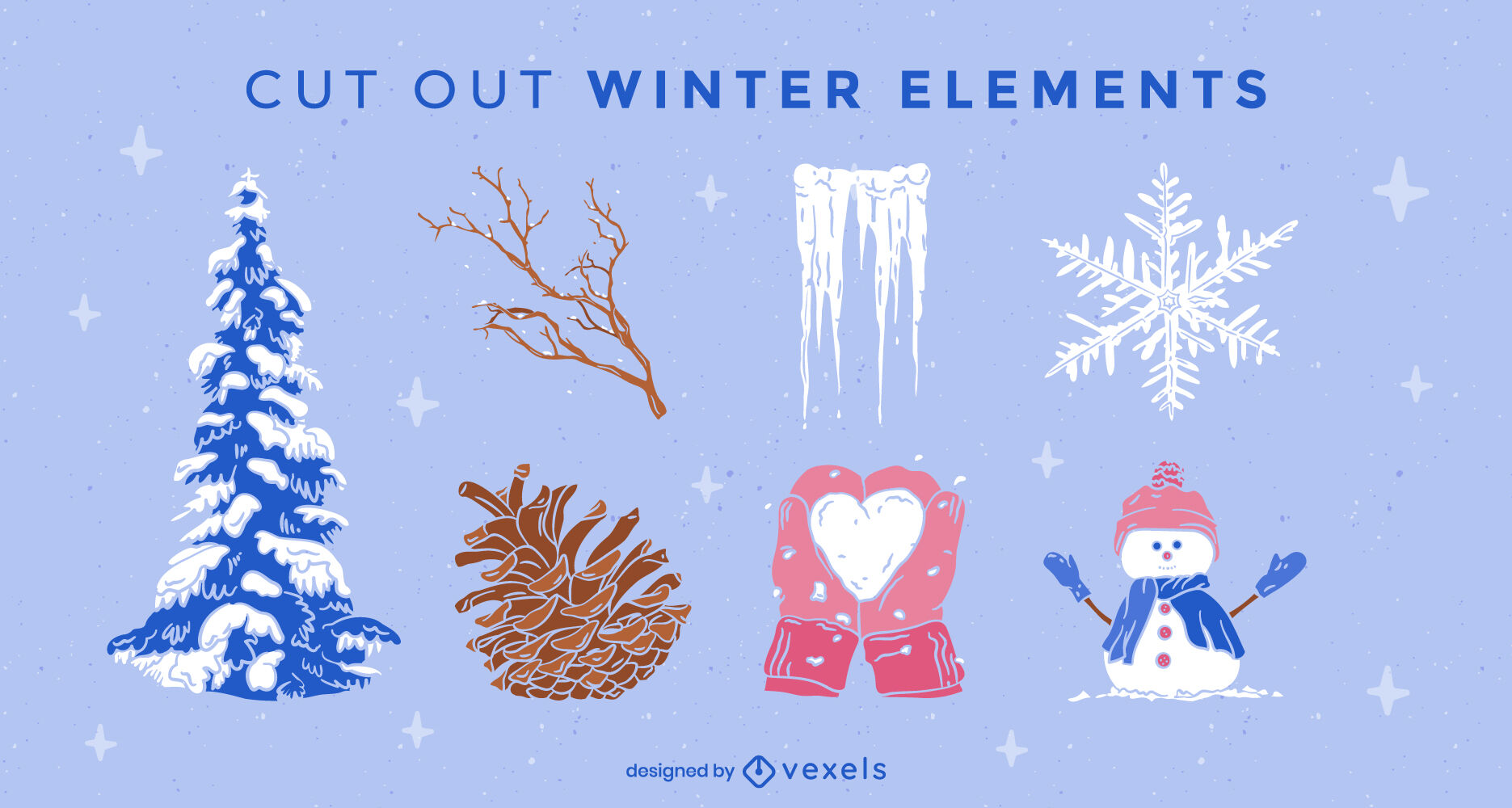 Conjunto de elementos de invierno recortados