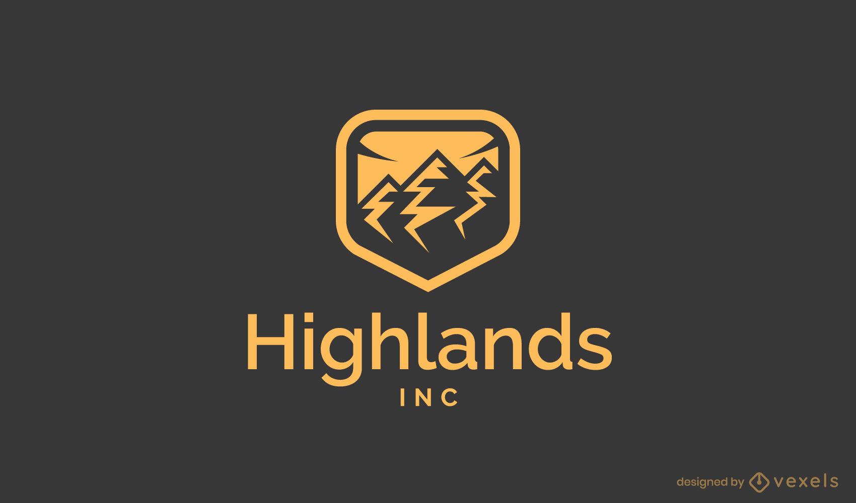 Modelo de logotipo do emblema das montanhas