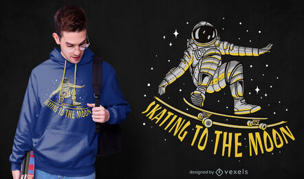 Astronaut skating in space t-shirt design