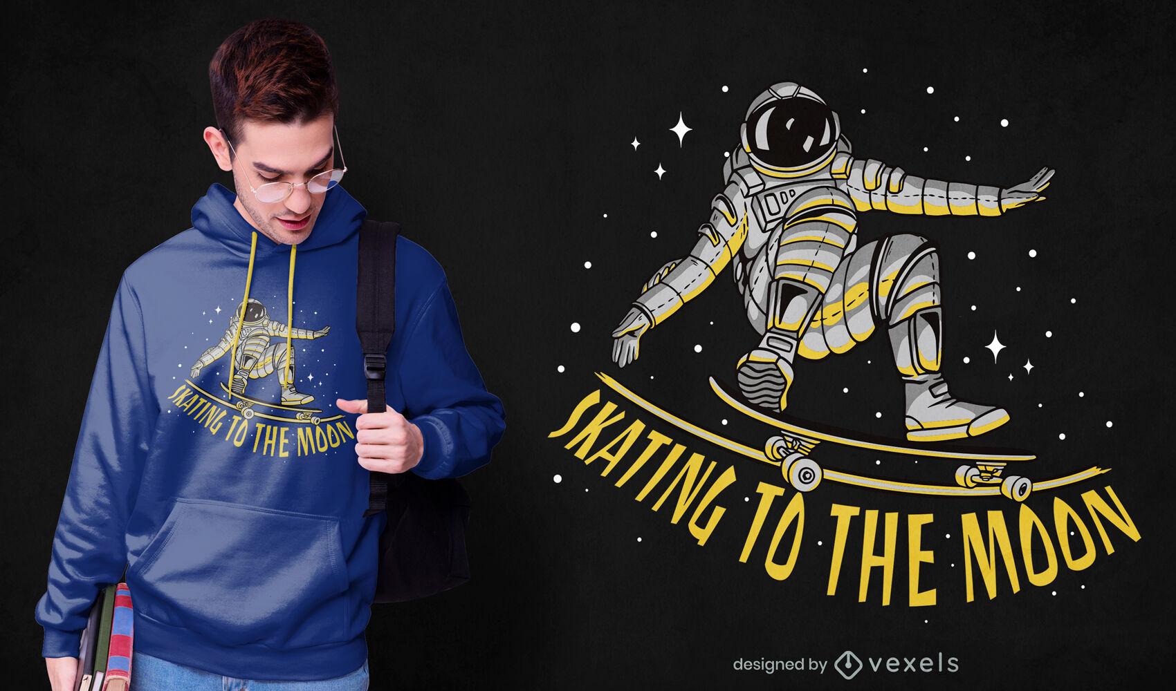 Astronauta patinando en el diseño de camiseta espacial.