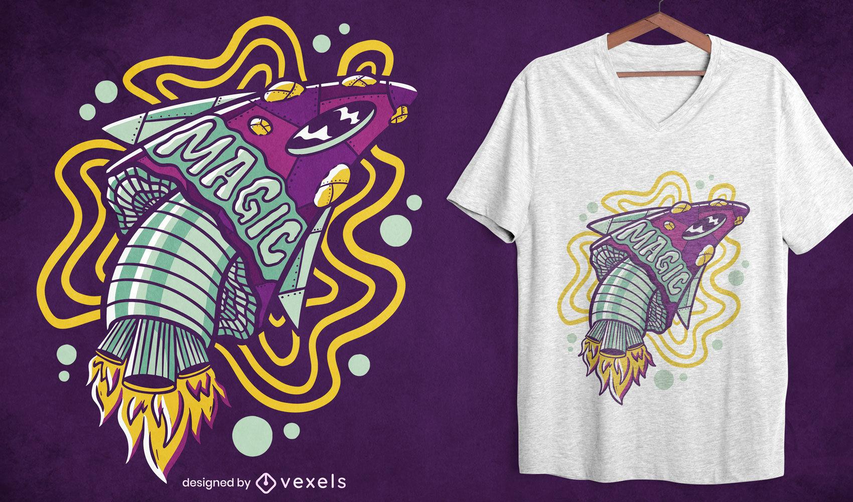Diseño de camiseta mágica de cohete de hongos.