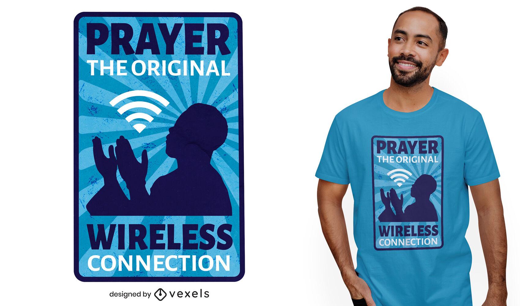 Diseño de camiseta de broma de wifi de oración de religión.