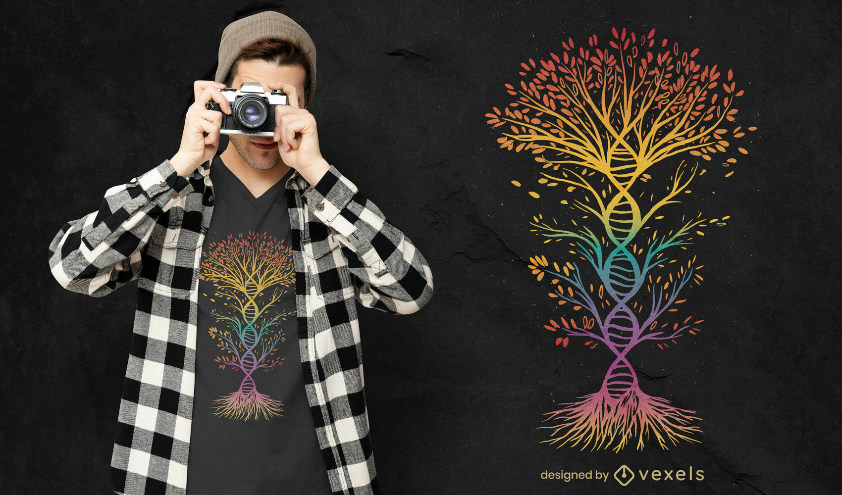 Design de camiseta colorida com árvore de DNA