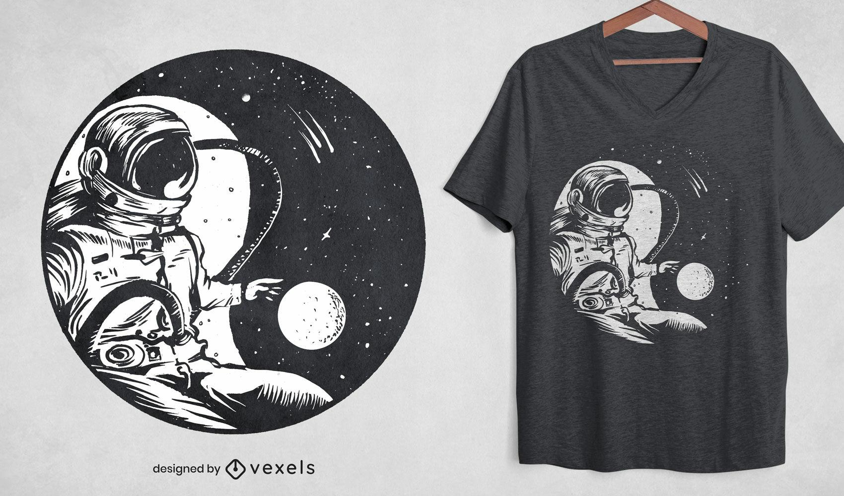 Astronaut yin yang space t-shirt design