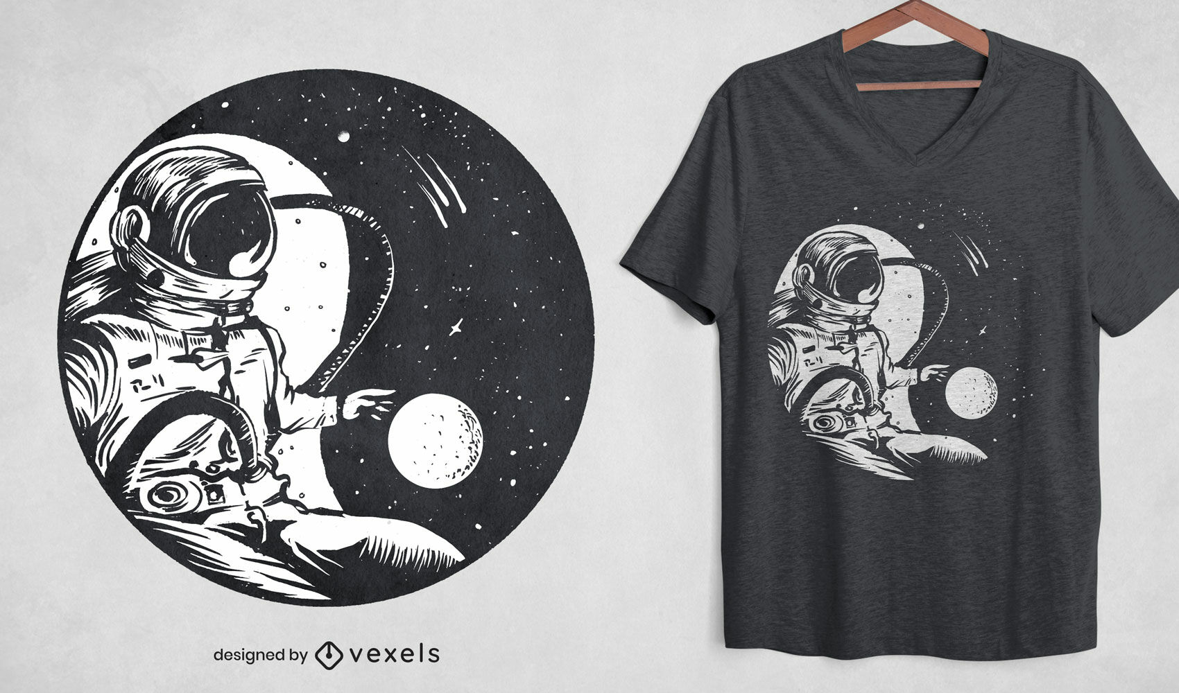 Diseño de camiseta espacial astronauta yin yang.