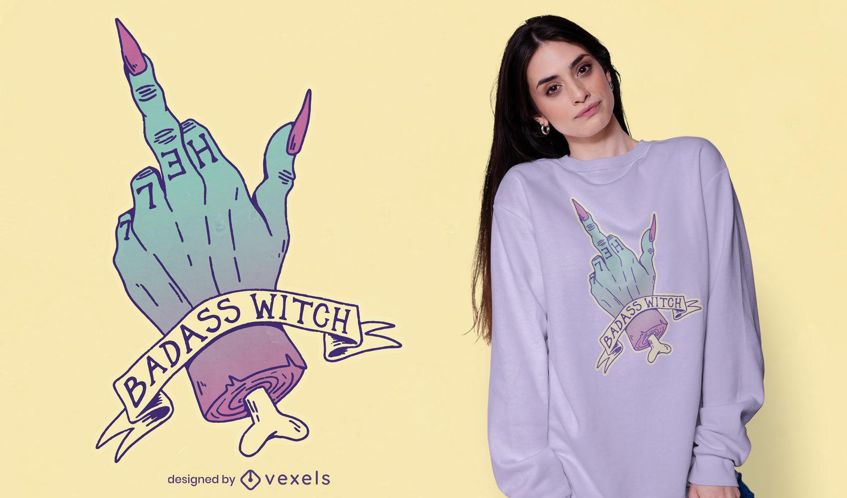 Diseño de camiseta de bruja badass pastel goth