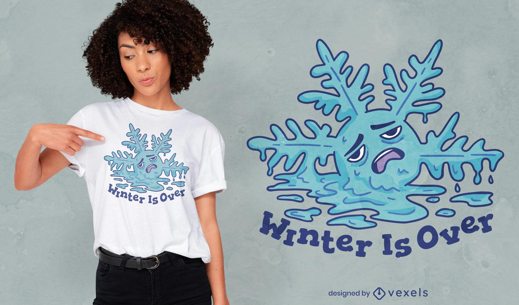 Diseño de camiseta de invierno con copo de nieve derretido