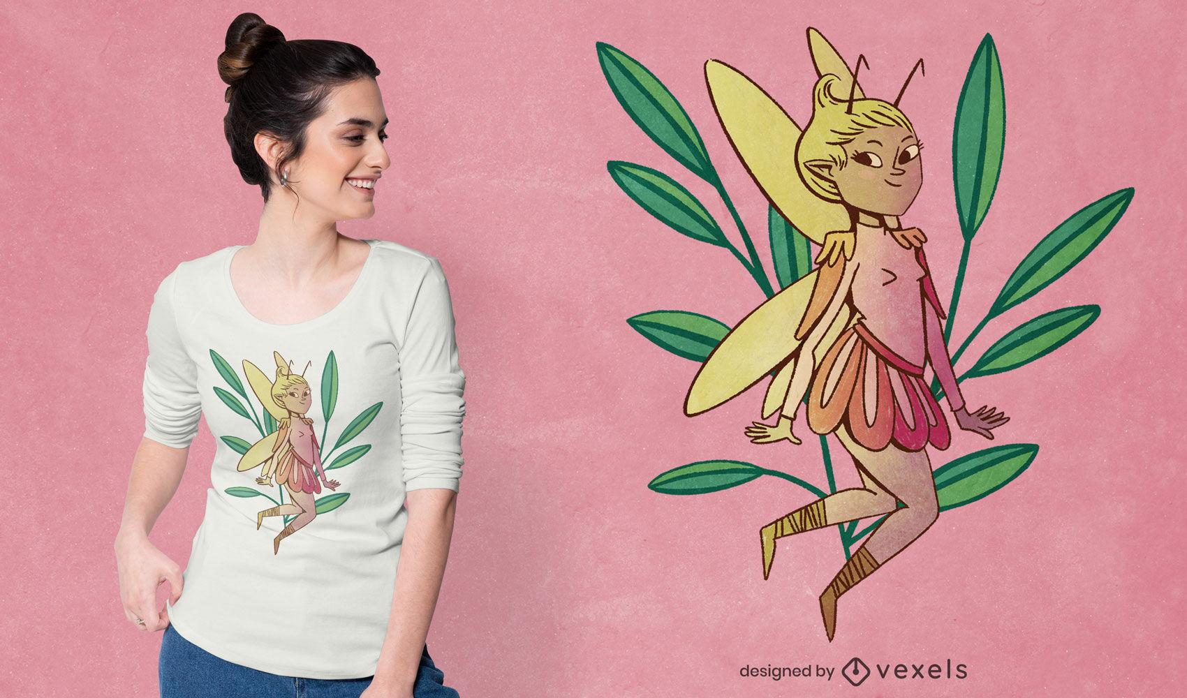 Diseño de camiseta psd de ilustración de duendecillo