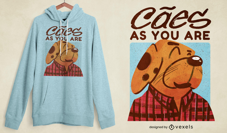 Diseño de camiseta de personaje de perro de género grunge