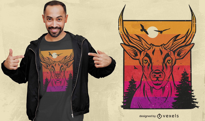 Diseño de camiseta de paisaje al atardecer de ciervos