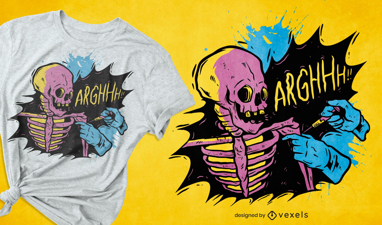 Skelett-Impfstoff-Covid-T-Shirt-Design