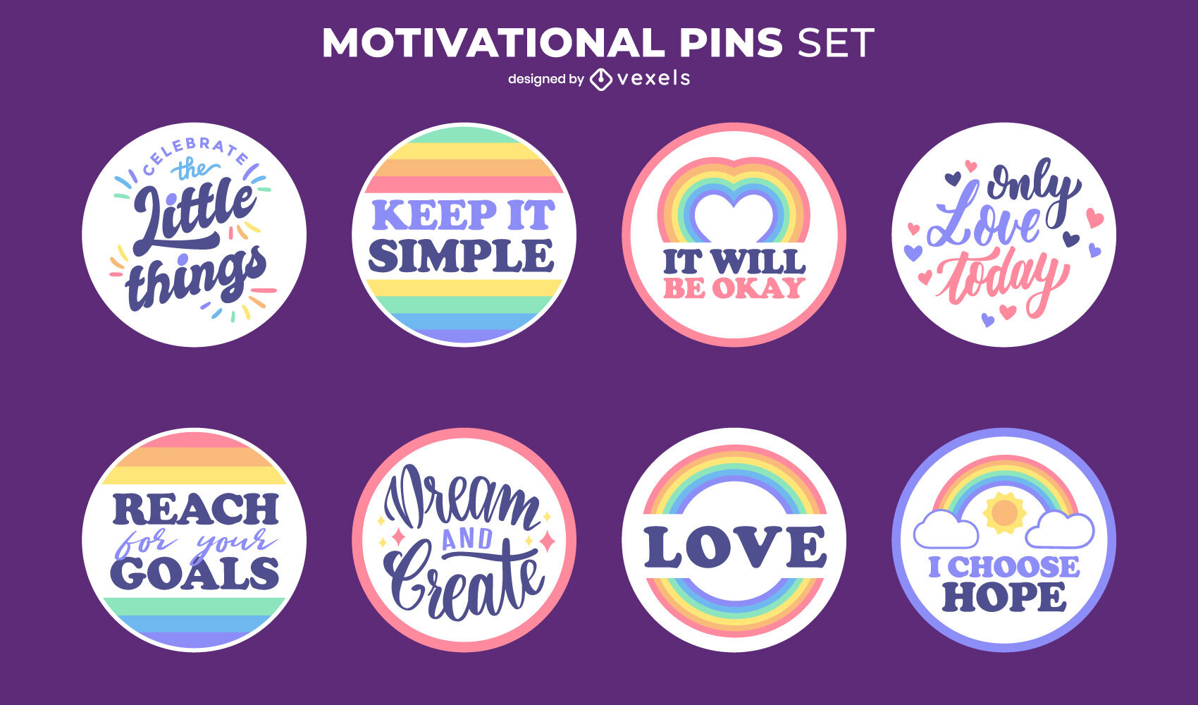 Motivational quotes rainbow pins set