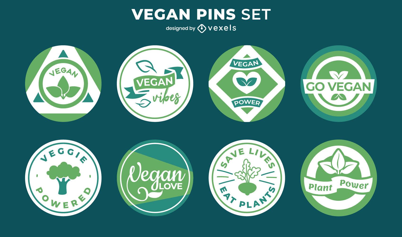 Conjunto de pin verde de comida natural saludable vegana