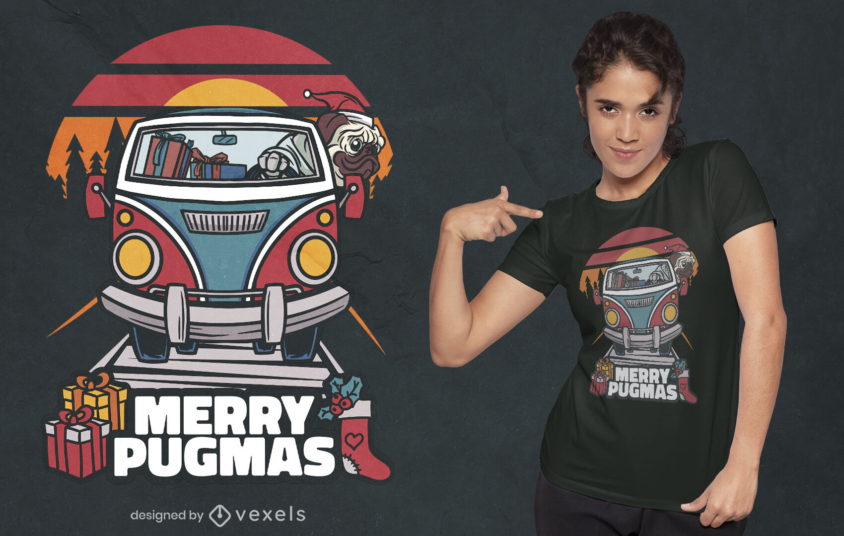 Design de t-shirt de Natal do Pug