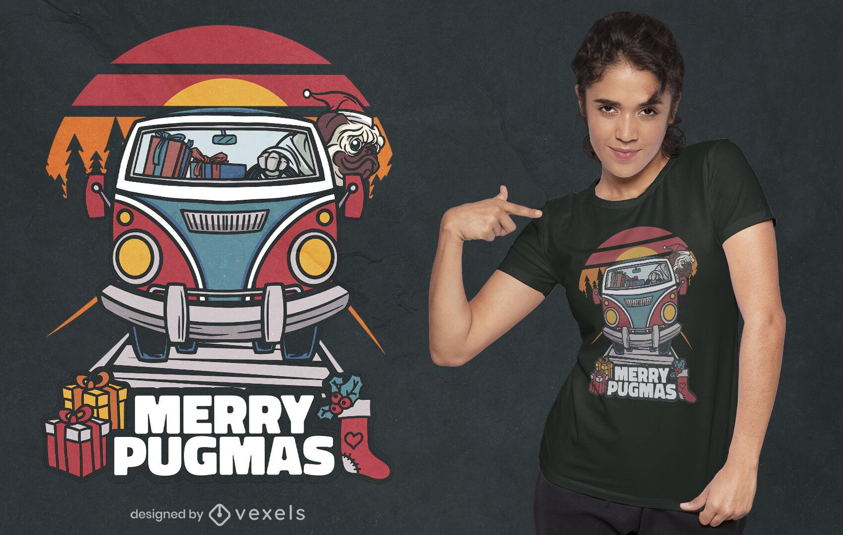 Dise?o de camiseta de vacaciones de Navidad Pug