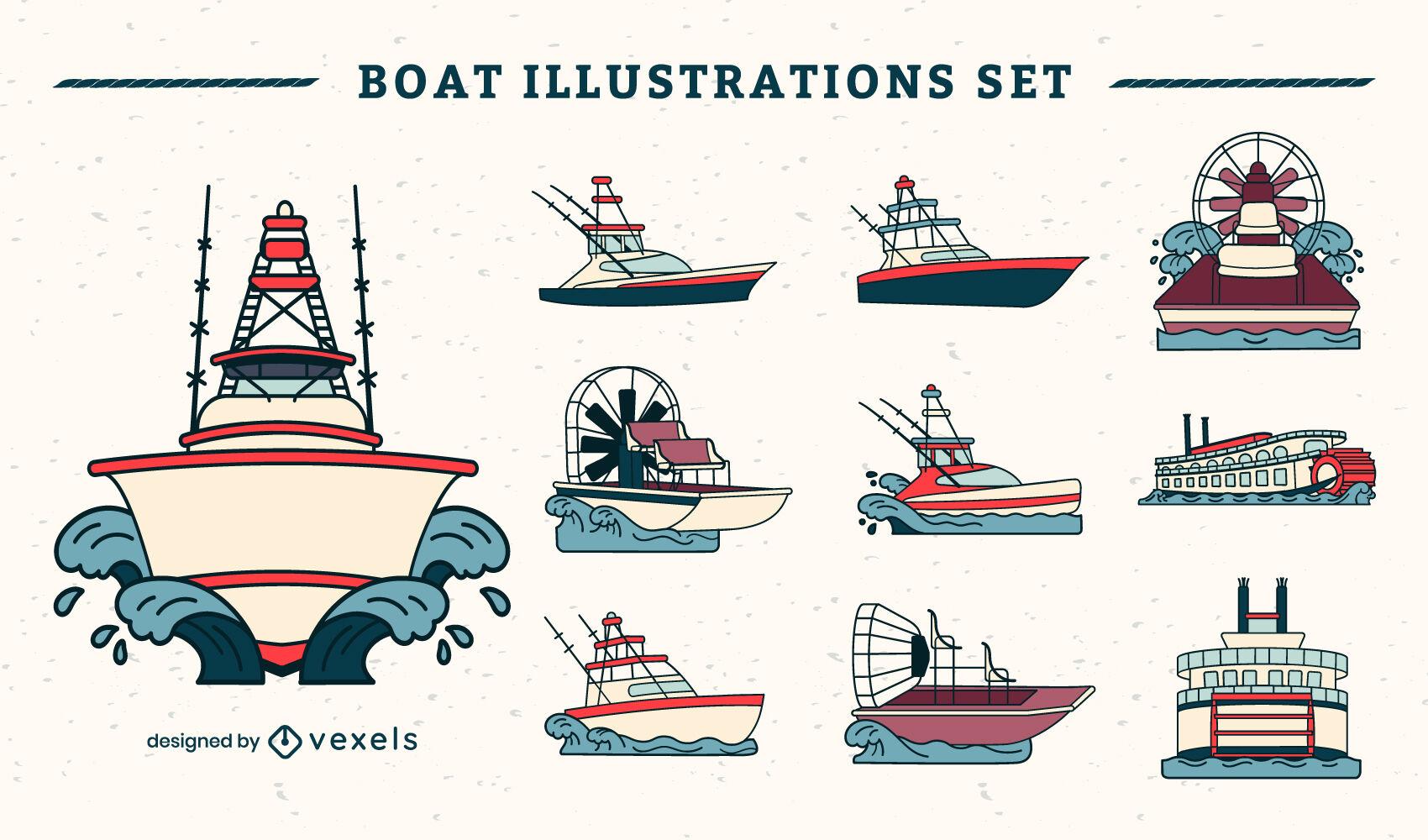 Conjunto de barcos y barcos.