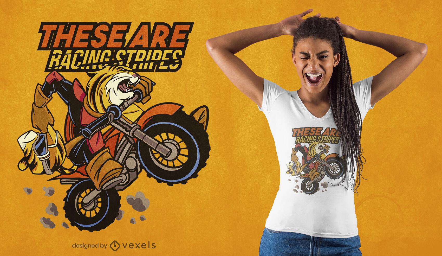 Biker tiger cartoon t-shirt design