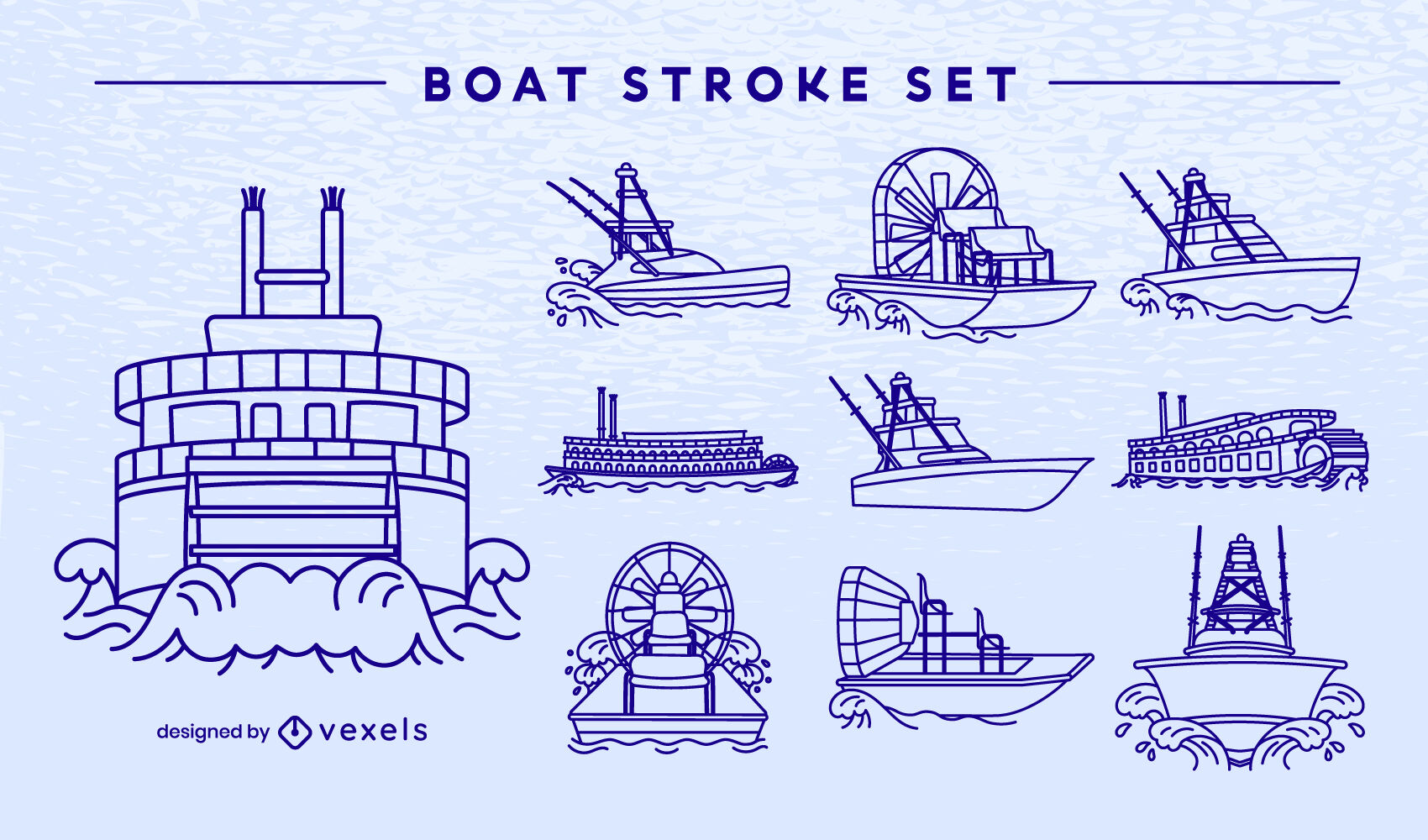 Conjunto de trazos de barcos y barcos.